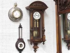 CARVED ROSEWOOD AND WALNUT VIENNA REGULATOR WALL CLOCK,