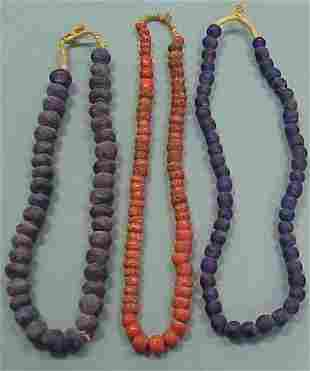 (3) STRANDS AFRICAN GLASS TRADE BEADS