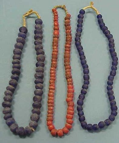 4: (3) STRANDS AFRICAN GLASS TRADE BEADS