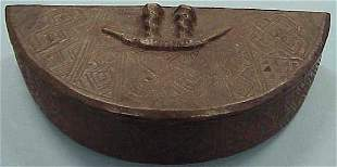KUBA CARVED/COVERED CRESCENT FORM BOX