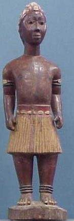 AKAN COLONIAL CARVED/PAINTED MALE FIGURE