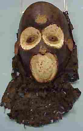 CAMEROON CARVED PAINTED MONKEY MASK