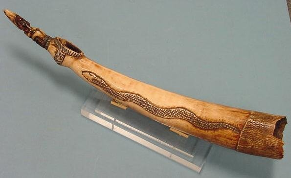 24: YORUBA CARVED IVORY HORN