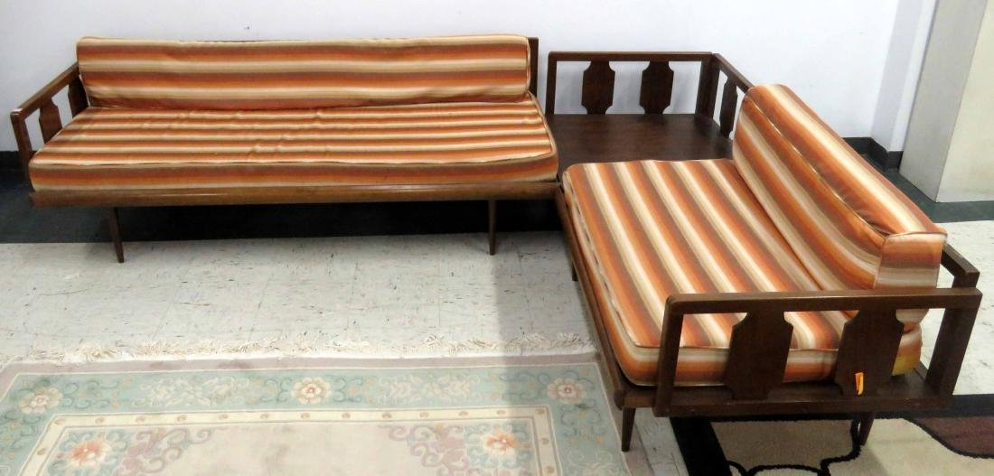 MID-CENTURY CARVED MAHOGANY 3-PIECE SECTIONAL SOFA