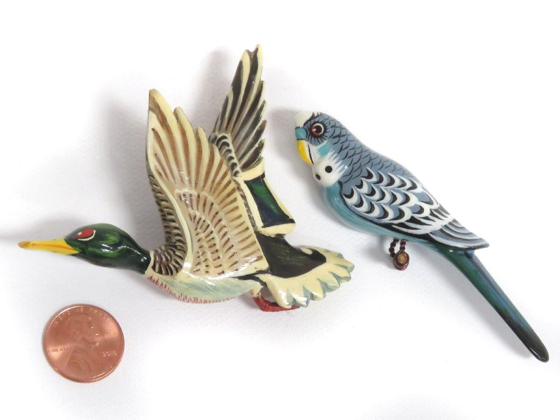 (2) TAKAHASHI STYLE PAINTED WOOD PARAKEET AND MALLARD
