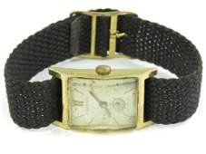 14K YELLOW GOLD LONGINES MENS WATCH WITH BLACK BAND