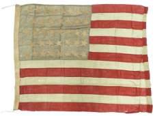 38 STAR HAND SEWN LINEN AMERICAN FLAG C18771889 68