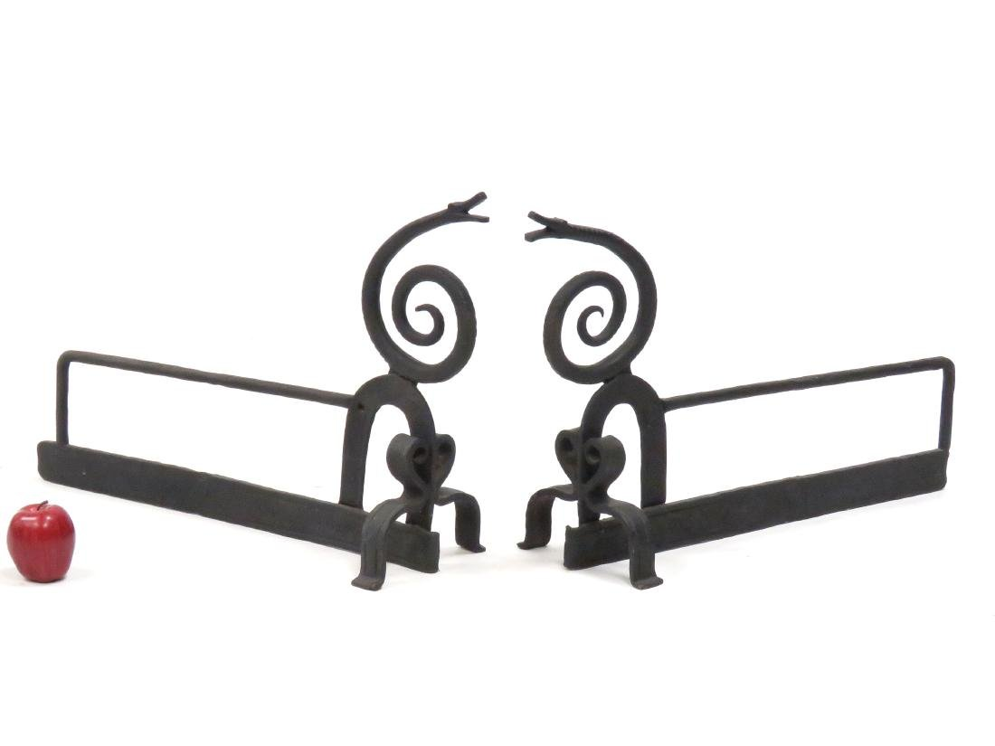 PAIR WROUGHT IRON CRAFTSMAN STYLE SNAKE ANDIRONS.