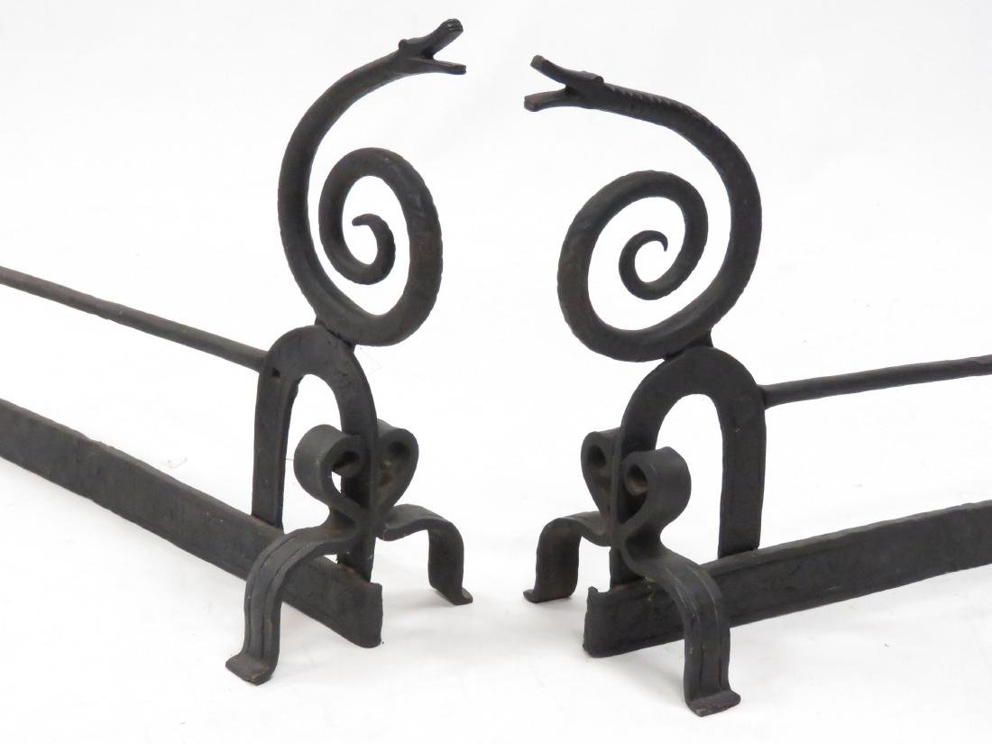 PAIR WROUGHT IRON CRAFTSMAN STYLE SNAKE ANDIRONS. - 2