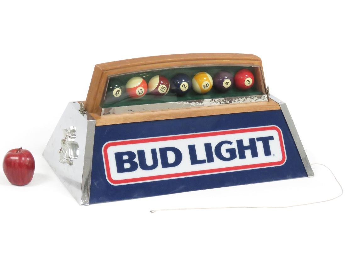"VINTAGE ""BUD LIGHT"" POOL TABLE LIGHT, 1984. HEIGHT 12"";"