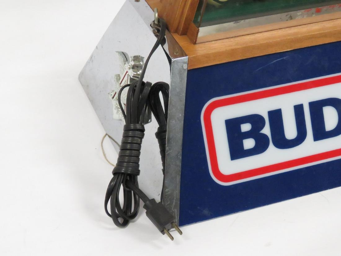 "VINTAGE ""BUD LIGHT"" POOL TABLE LIGHT, 1984. HEIGHT 12""; - 3"