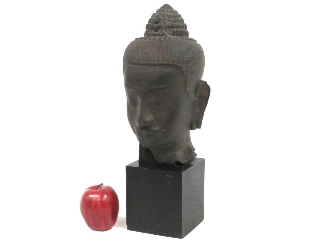 LOUVRE MUSEUM REPLICA, GANDHARA SCHIST HEAD OF BUDDHA.