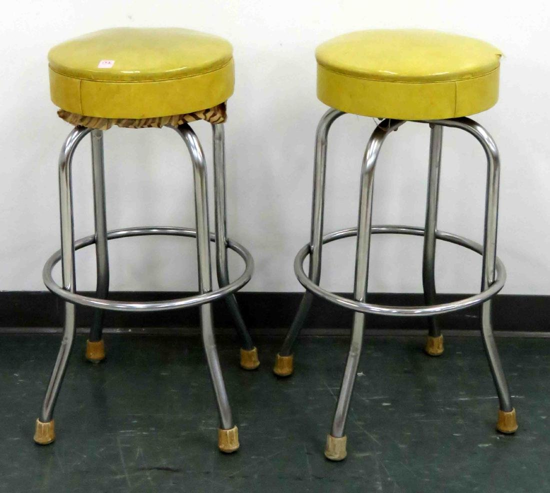 PAIR VINTAGE SWIVEL BAR STOOLS