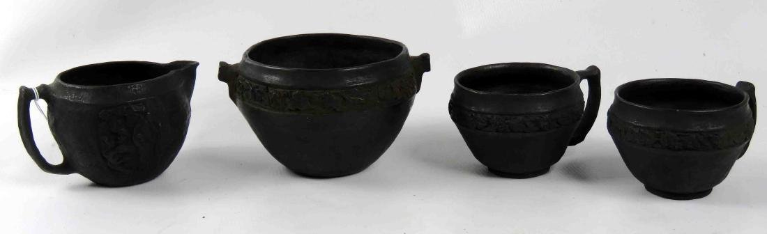 LOT (4) ASSORTED BLACKWARE POTTERY, SIGNED INCLUDING