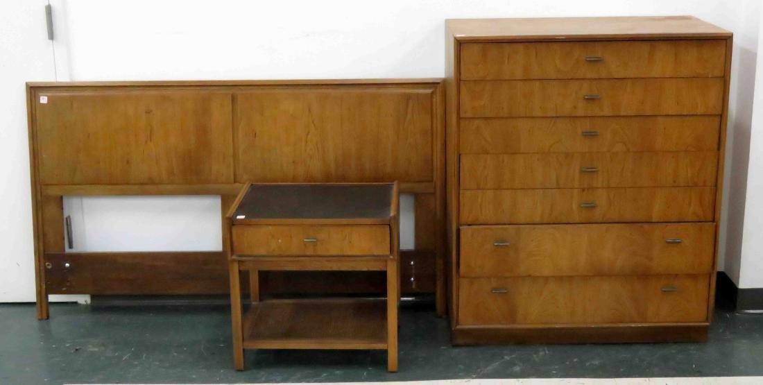 LOT (3) MID-CENTURY MODERN WALNUT/TEAK BEDROOM SUITE,