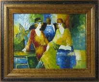 CONTINENTAL SCHOOL 20TH CENTURY OIL ON CANVAS CAFE
