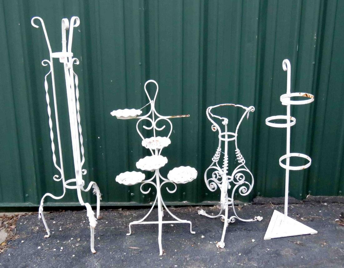 LOT (4) VINTAGE PAINTED WROUGHT IRON PLANT STANDS