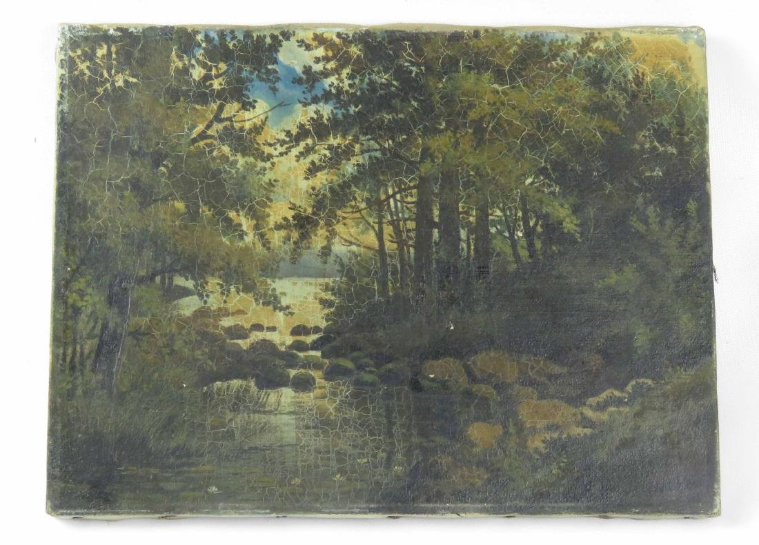 AMERICAN SCHOOL (20TH CENTURY), OIL ON CANVAS, WOODED