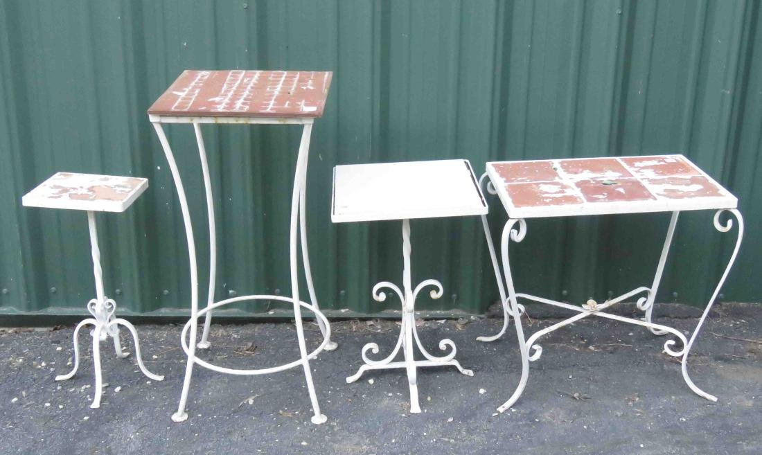 LOT (4) ASSORTED WROUGHT IRON TILE-TOP STANDS