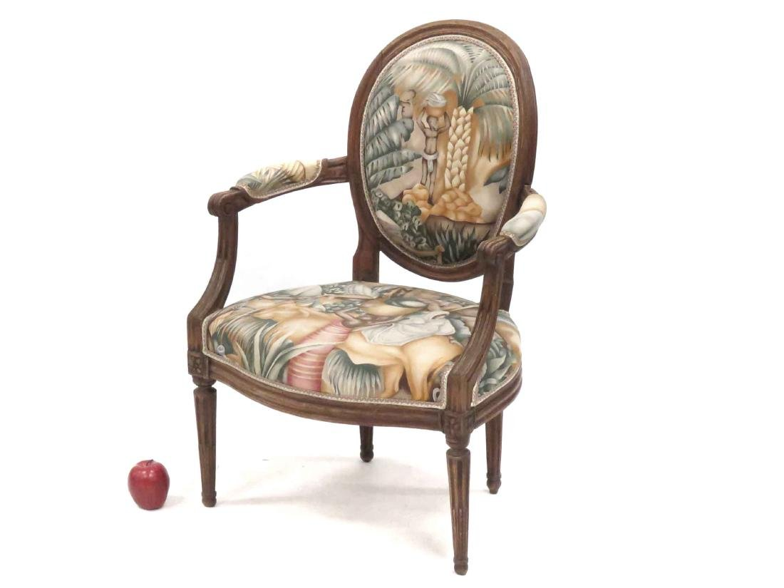 FRENCH CARVED WALNUT FAUTEUIL, 18/19TH CENTURY