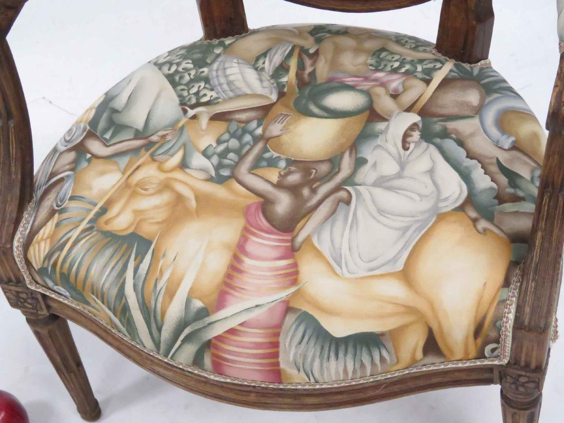 FRENCH CARVED WALNUT FAUTEUIL, 18/19TH CENTURY - 2