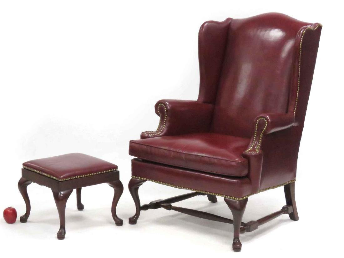 LOT (2) INCLUDING QUEEN ANNE STYLE LEATHER WING-BACK