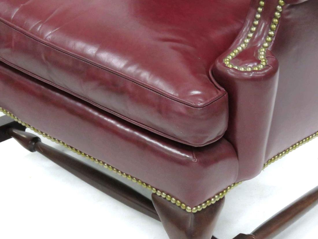 LOT (2) INCLUDING QUEEN ANNE STYLE LEATHER WING-BACK - 2
