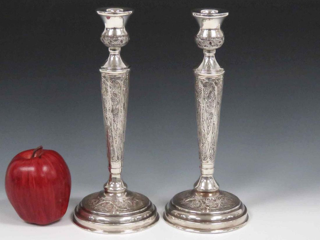 PAIR EGYPTIAN SILVER CANDLESTICKS, HALLMARKED. HEIGHT