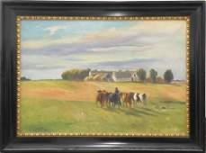 GERMAN SCHOOL (20TH CENTURY) OIL ON CANVAS, FARM SCENE