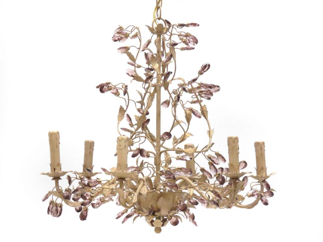 """FRENCH STYLE IRON/CRYSTAL 6-ARM CHANDELIER. HEIGHT 20"""";"""