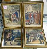 SET (4) FRENCH HAND COLORED ENGRAVINGS, 19TH CENTURY.