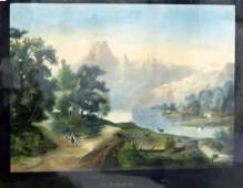CONTINENTAL HAND COLORED LITHOGRAPH WALLENLAKE 19TH