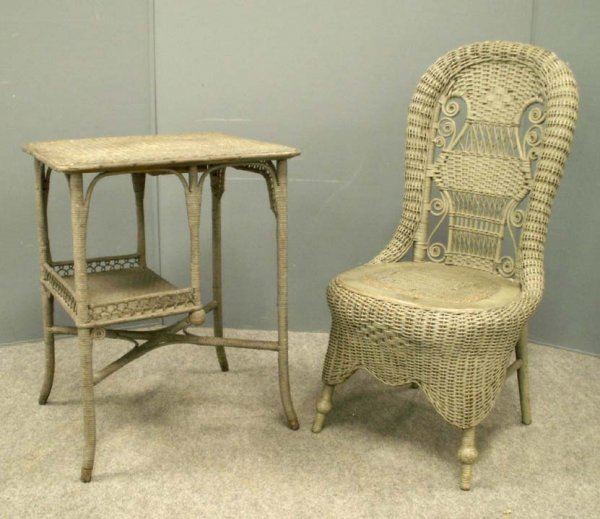 3: (2) HEYWOOD BROS. & WAKEFIELD WICKER SIDE CHAIR