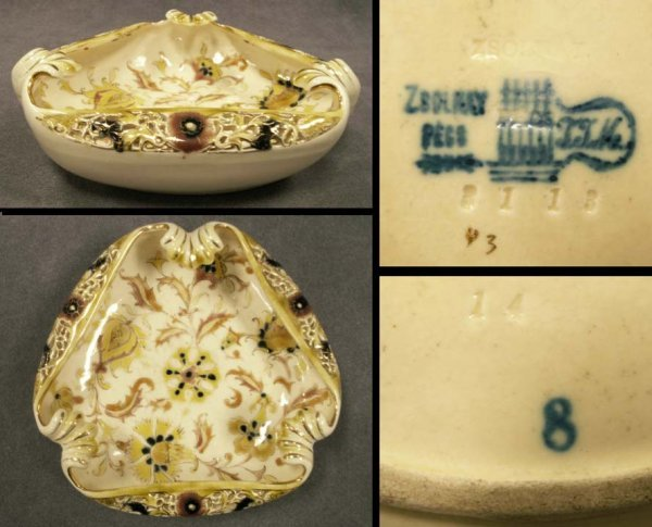 10: ZSOLNAY PORCELAIN RETICULATED SHAPED DISH