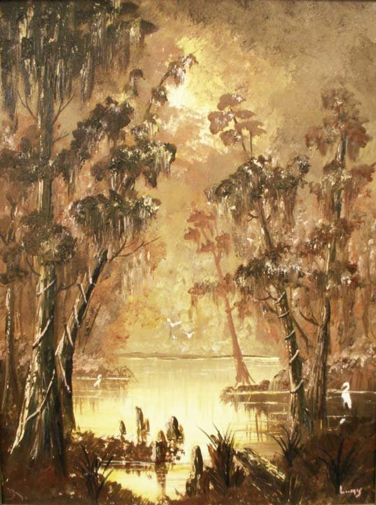 12: PAINTING, VIEW ON THE BAYOU, SIGNED LOOMIS