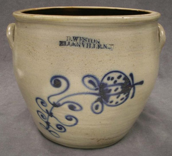13: VINTAGE 2-GALLON SLIP DECORATED STONEWARE CROCK