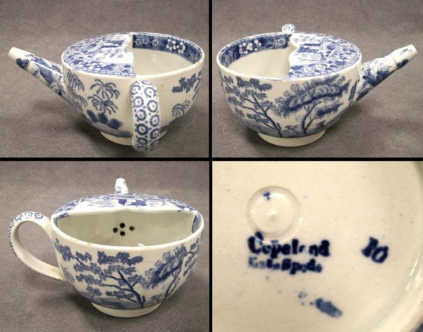 17: COPELAND SPODE TRANSFER DECORATED INVALID FEEDER