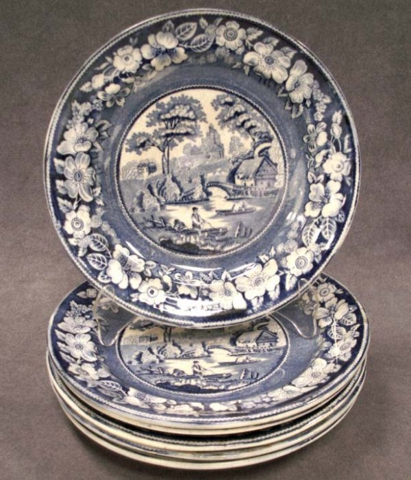 22: SET (6) SCENIC STAFFORDSHIRE PLATES, 19TH CENTURY