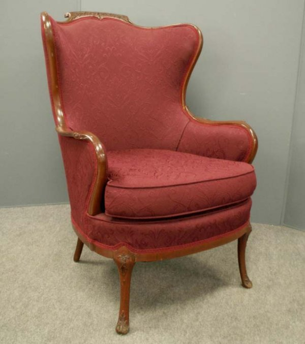 23: REGENCY STYLE CARVED MAHOGANY ARMCHAIR