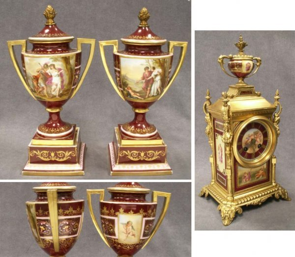 236: ROYAL VIENNA PORCELAIN BRONZE MOUNTED GARNITURE