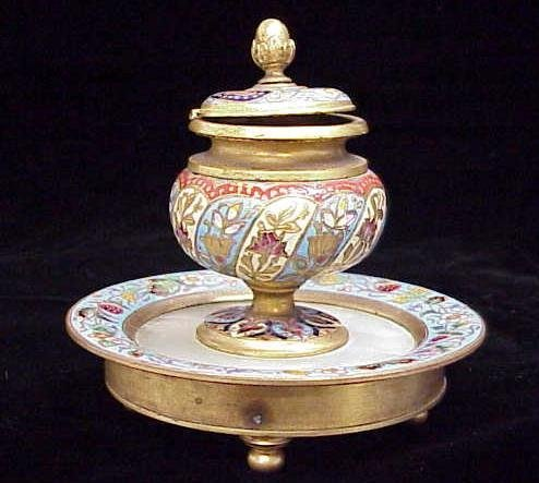 21: FRENCH GILT BRONZE CHAMPLEVE INKWELL
