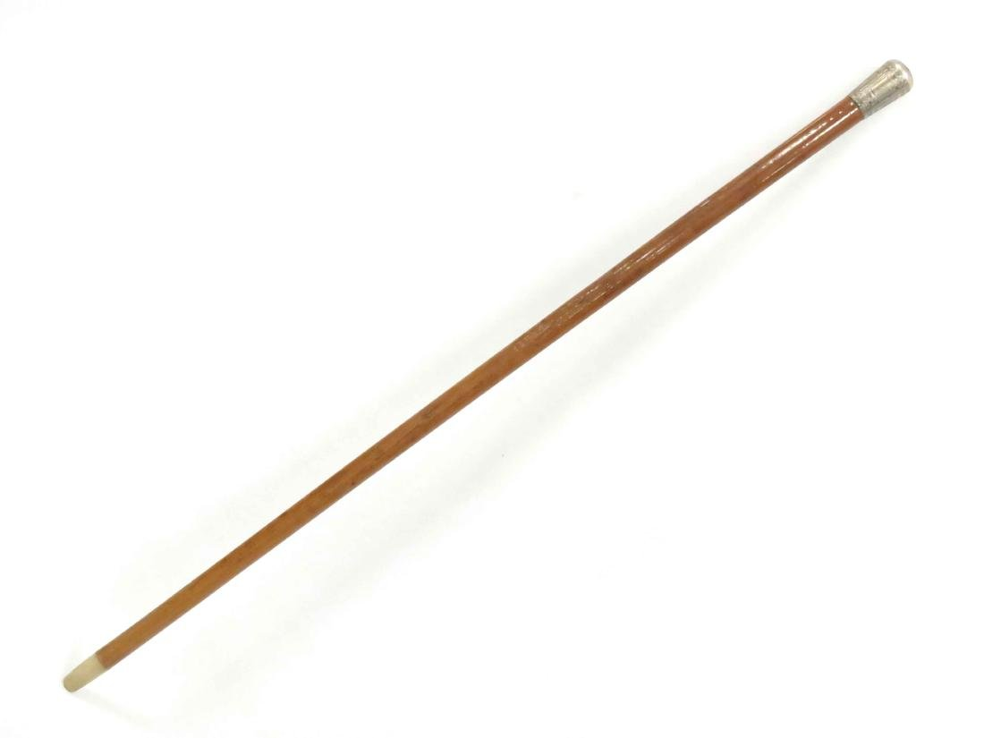 """VICTORIAN WALKING STICK WITH STERLING CAP. LENGTH 36"""" - 4"""