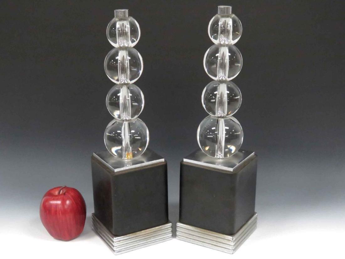 PAIR ART DECO GLASS & NICKLE GARNITURES, 20TH CENTURY.