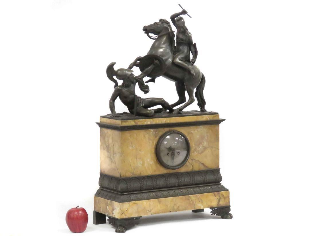 FRENCH EMPIRE BRONZE & MARBLE FIGURAL SHELF CLOCK, 19TH