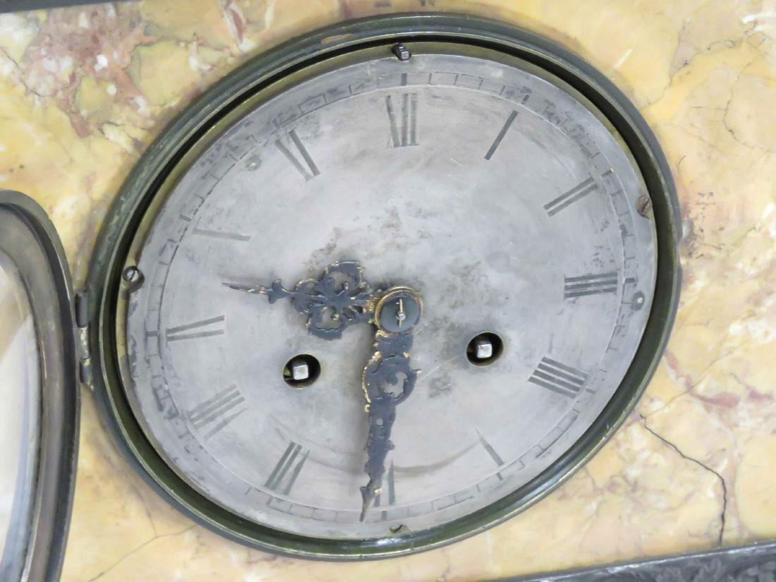 FRENCH EMPIRE BRONZE & MARBLE FIGURAL SHELF CLOCK, 19TH - 3