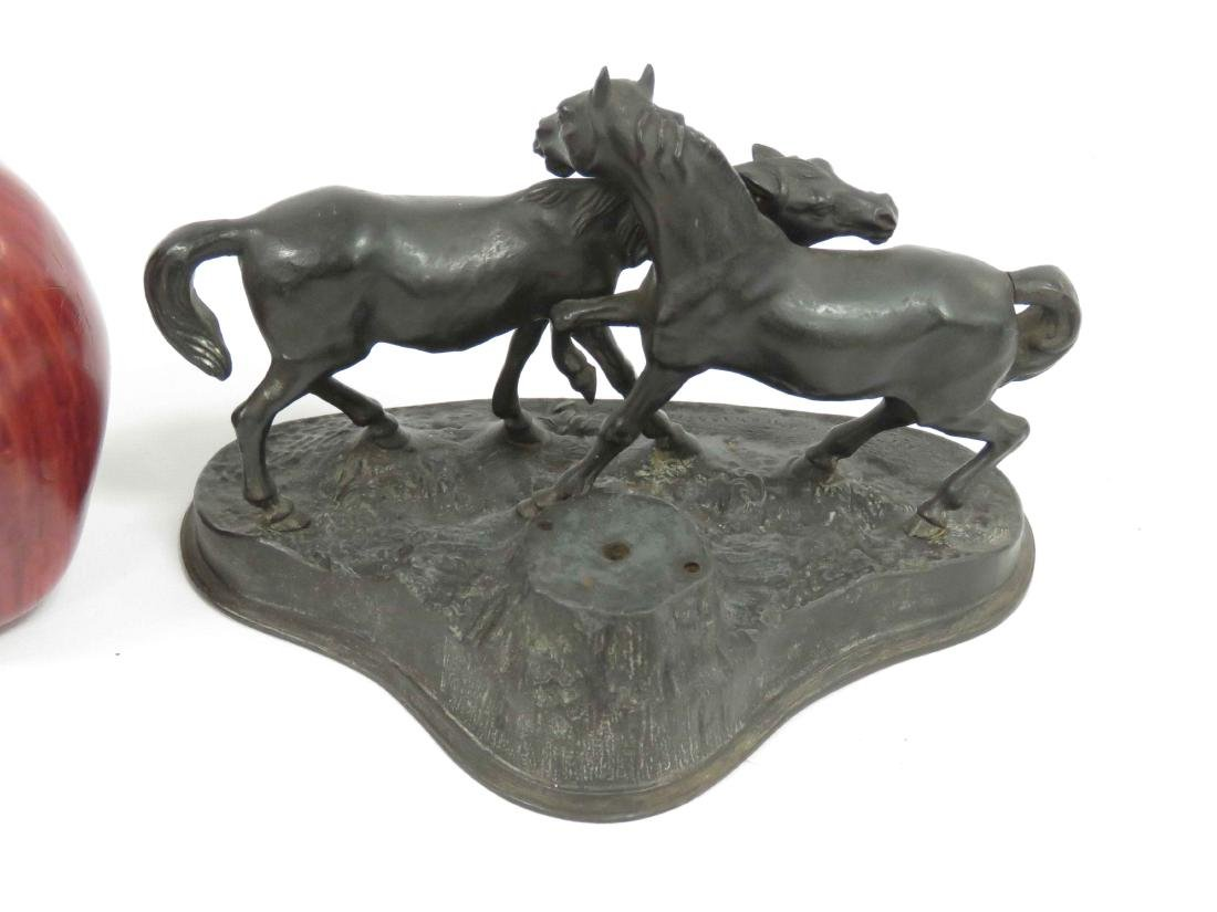 VINTAGE GERMAN PATINATED CAST IRON GROUP, TWO FOALS, - 2