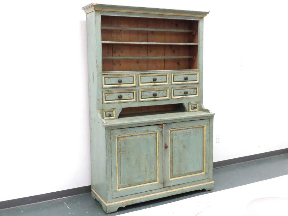 HUDSON VALLEY PAINTED PINE HUTCH, 19/20TH CENTURY.