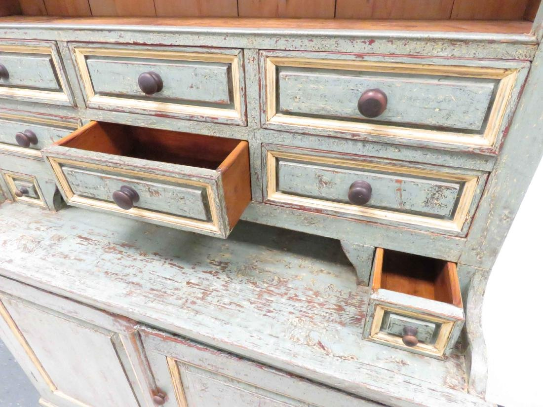 HUDSON VALLEY PAINTED PINE HUTCH, 19/20TH CENTURY. - 4