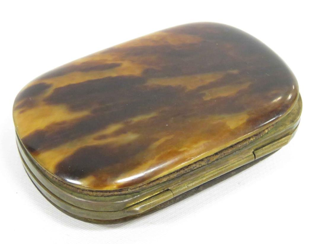 """VICTORIAN GOLD INLAID TORTOISE LEATHER PURSE. 3 X 2"""" - 3"""