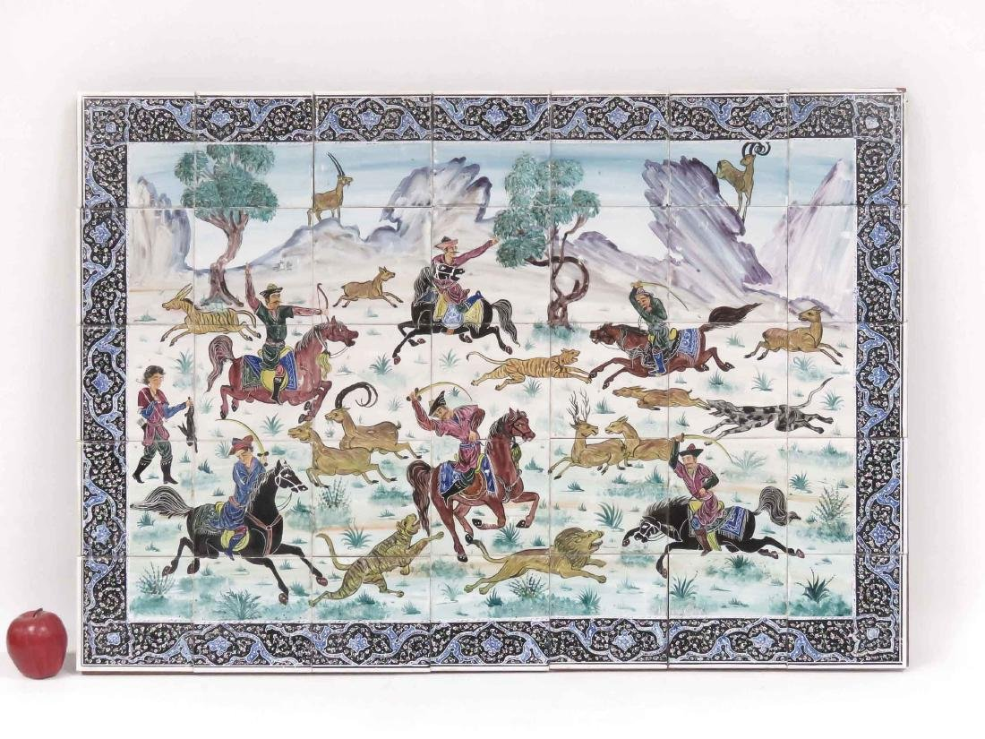 HAND PAINTED PERSIAN HUNT SCENE TILE PICTURE. 30 X 42""